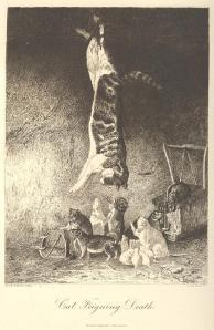 An antique print of a cat hanging upside down pretending to be dead with mice and rats beneath him exploring mousetraps