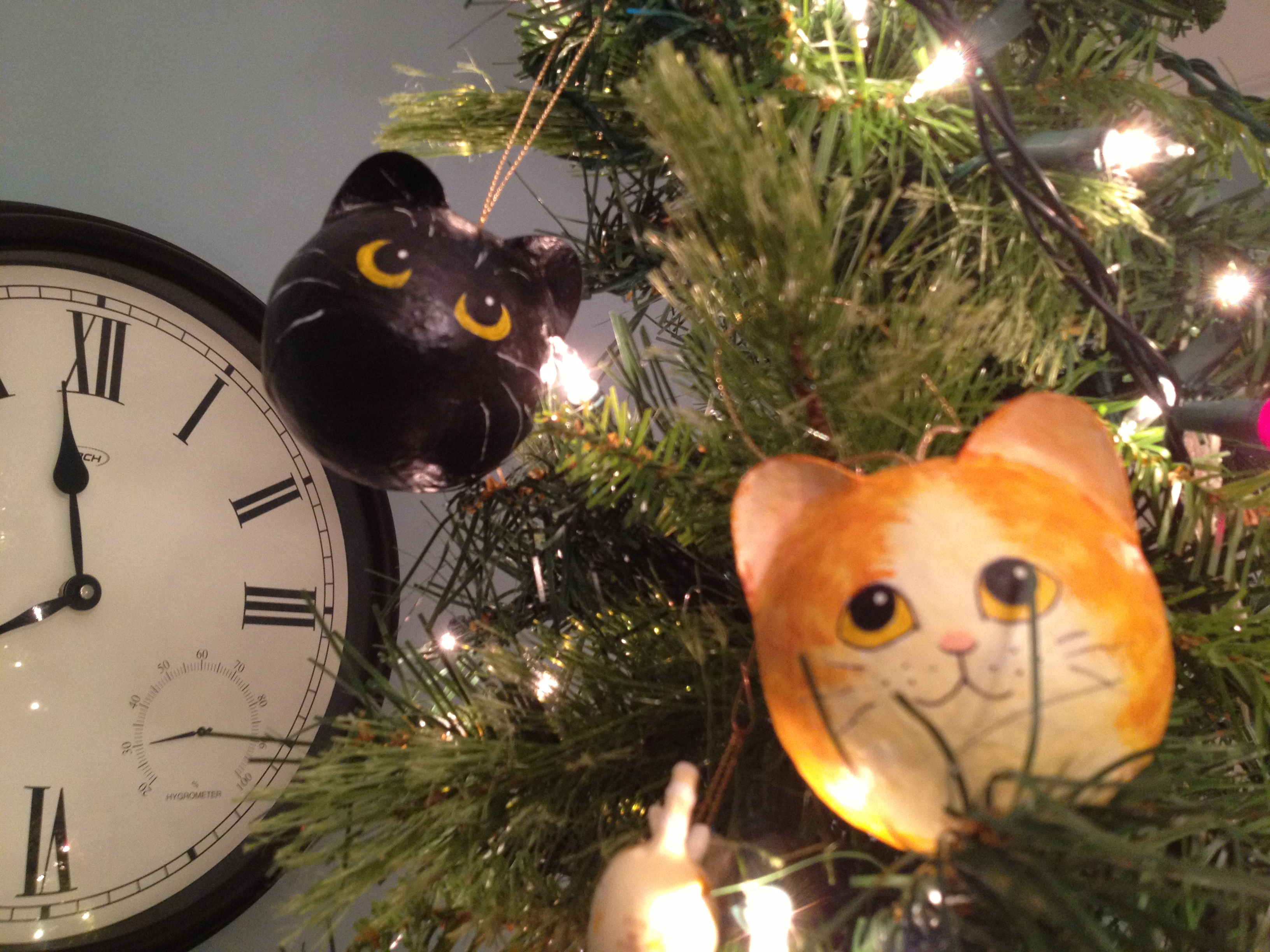 yoshi and gatsby on the christmas tree