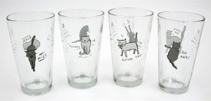 """Tao of the Cat"" drinking glasses. The tao of the cat is to do your thing and leave the kitty alone."